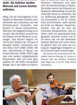 Zeitungsvorschau zum Konzert vom 14. Januar 2018