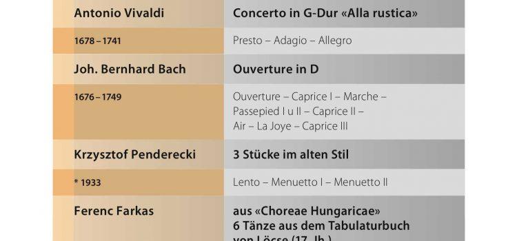 Programm für das Sommerkonzert am 16. Juni 2019 im Kloster Au, Trachslau