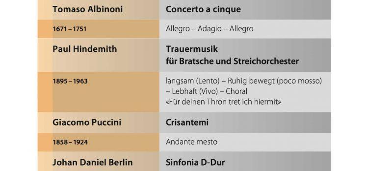 Programm für das Herbstkonzert am 17. Nov. 2019 im Grossen Saal des Klosters Einsiedeln