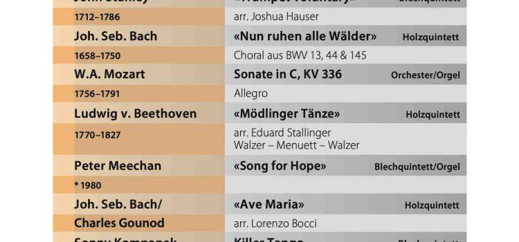 Programm für das Herbstkonzert am 30. Nov. 2021 in der Jugendkirche Einsiedeln